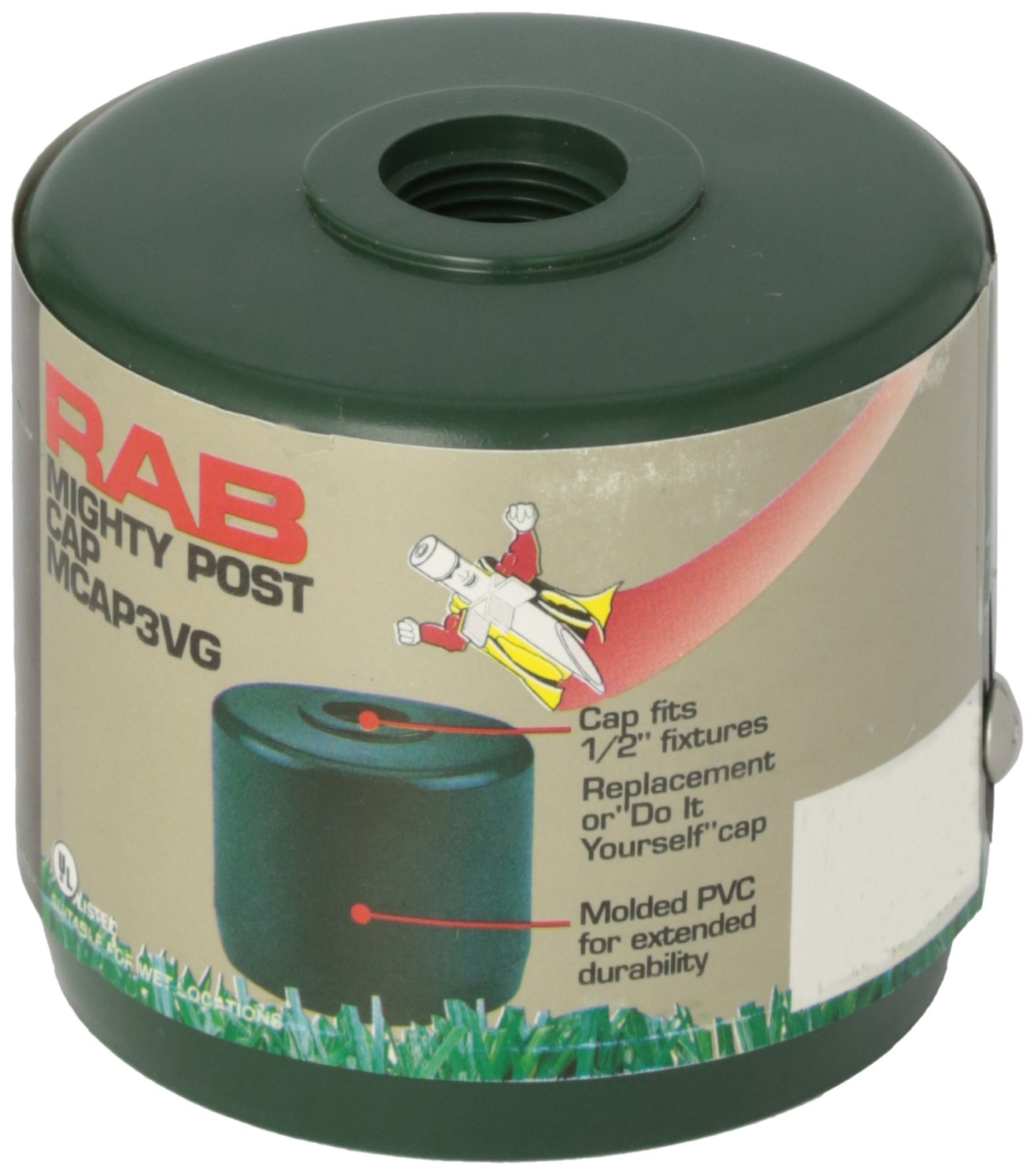 RAB Lighting MCAP3VG Mighty Post Cap for 3'' Pipe, 2-7/8'' OD, Verde Green by RAB Lighting