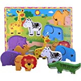 Lewo Wooden Wild Animals Chunky Puzzle for Toddlers Preschool Learning Educational Toys 7 Pcs