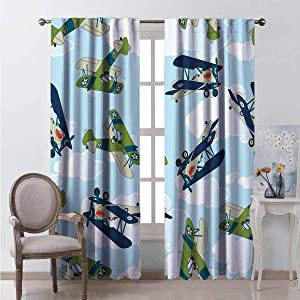 HELLOLEON Airplane 100% Blackout Lining Curtain Vintage Allied Plane Flying Pattern Cartoon Children Kids Repeating Toys Shark Teeth Full Shading Treatment Kitchen Insulation Curtain W52 x L84 Inch