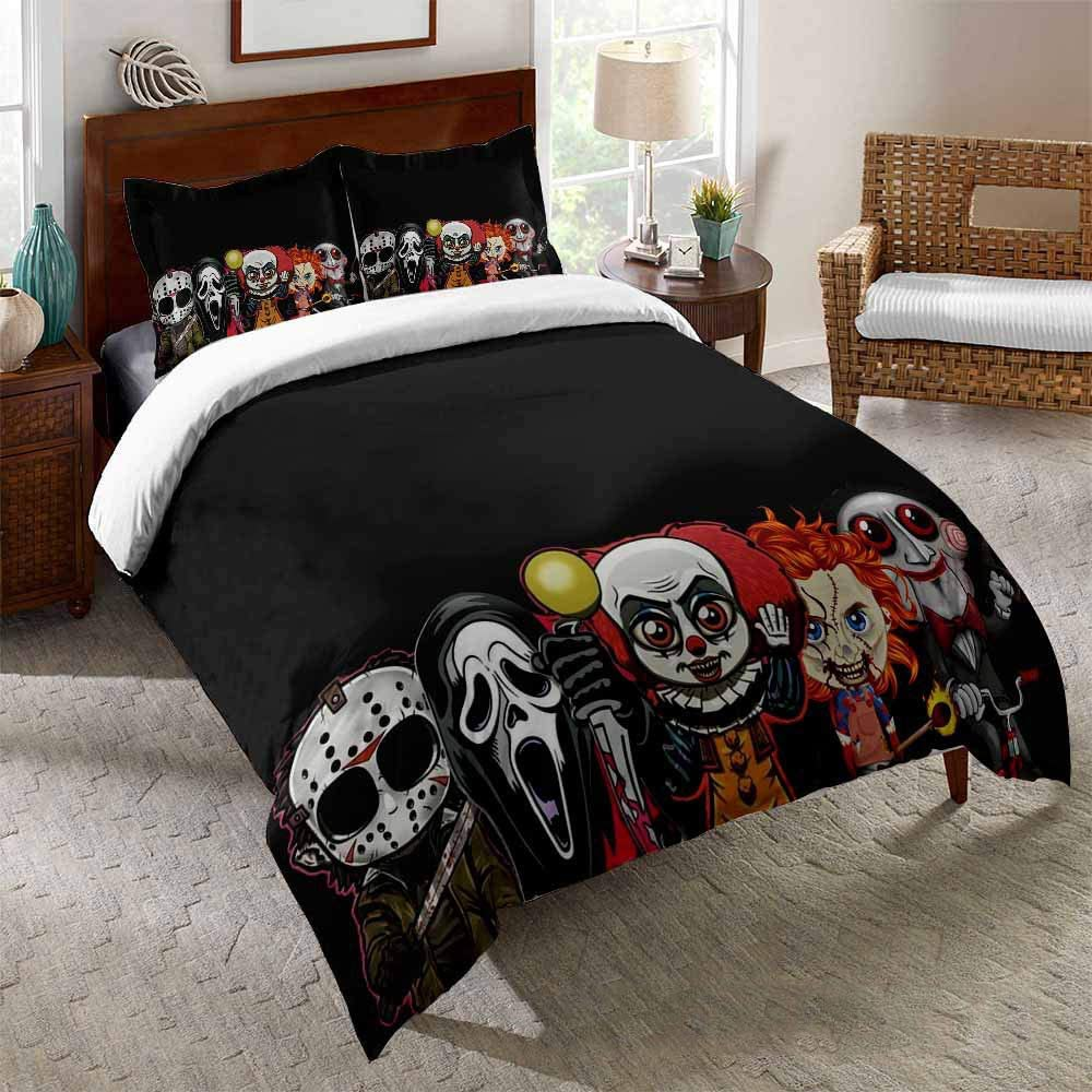 Amazon Com Horror Movie Bedding Sets For Teens Kids Horror Comforter Duvet Cover Set With Pillowcase Soft Microfiber Bedroom Quilt Sets Decor E Twin Kitchen Dining
