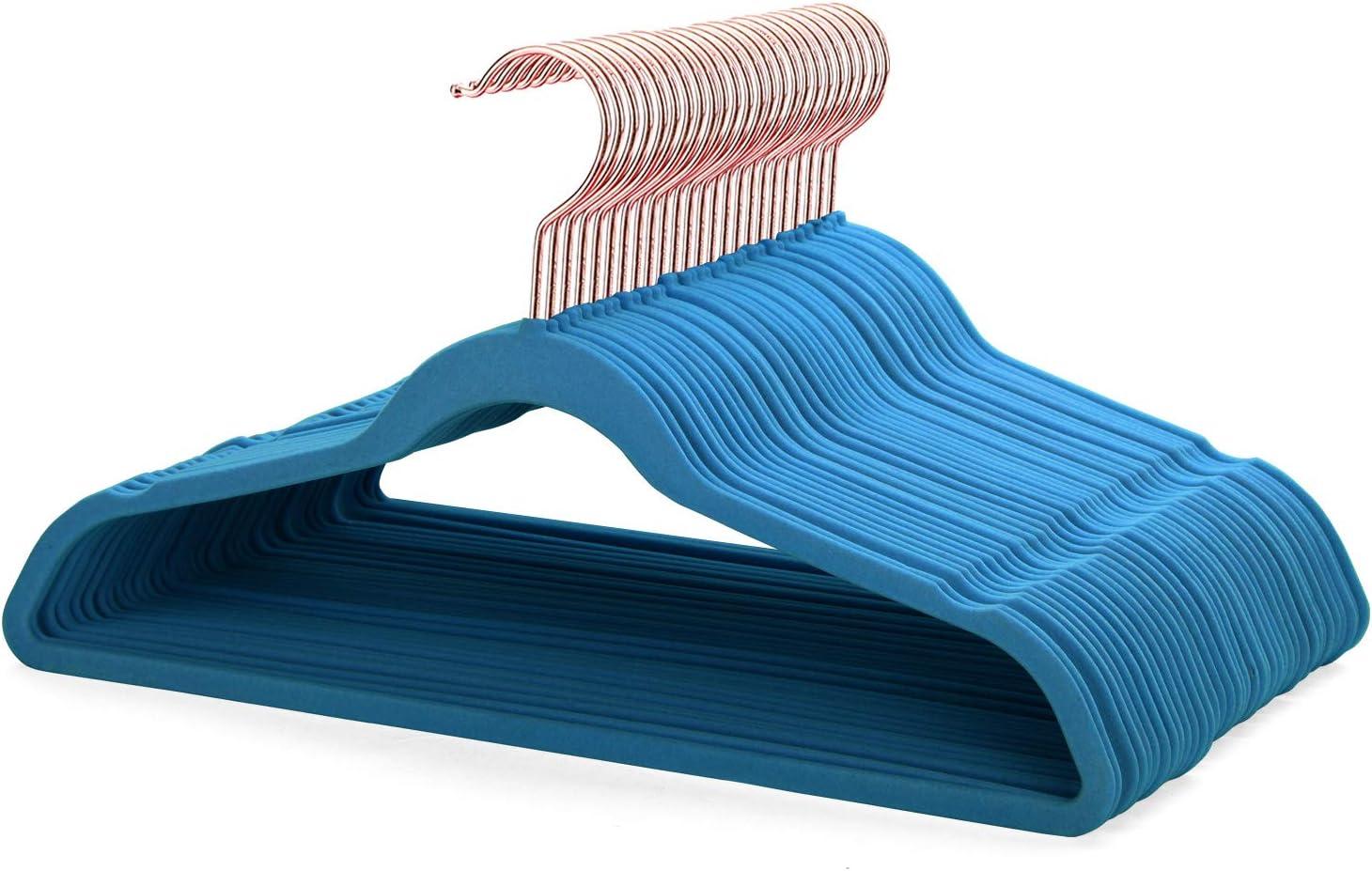 Smartor Blue Velvet Hangers 50 Pack Felt Hangers Non Slip Rose Gold Hook Flocked Hangers Heavy Duty Adult Hanger for Coat, Suit