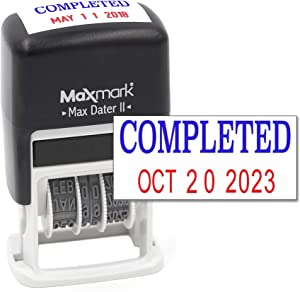MaxMark Self-Inking Rubber Date Office Stamp with Completed Phrase Blue Ink & Date RED Ink (Max Dater II), 12-Year Band