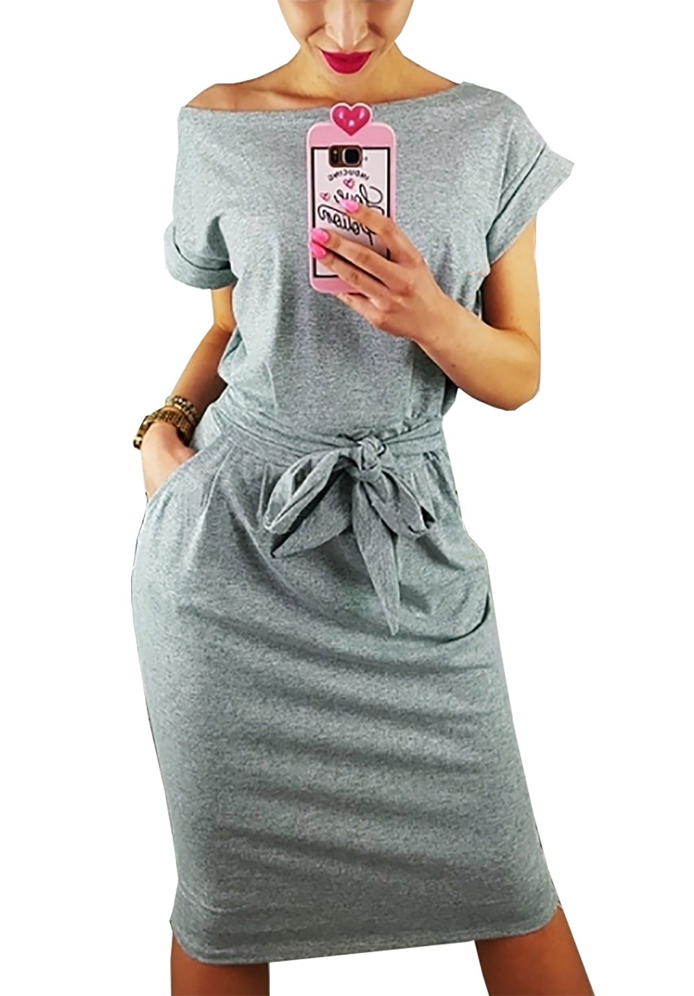 PRETTYGARDEN Women's 2018 Casual Short Sleeve Party Bodycon Sheath Belted Dress with Pockets (Grey, Medium)