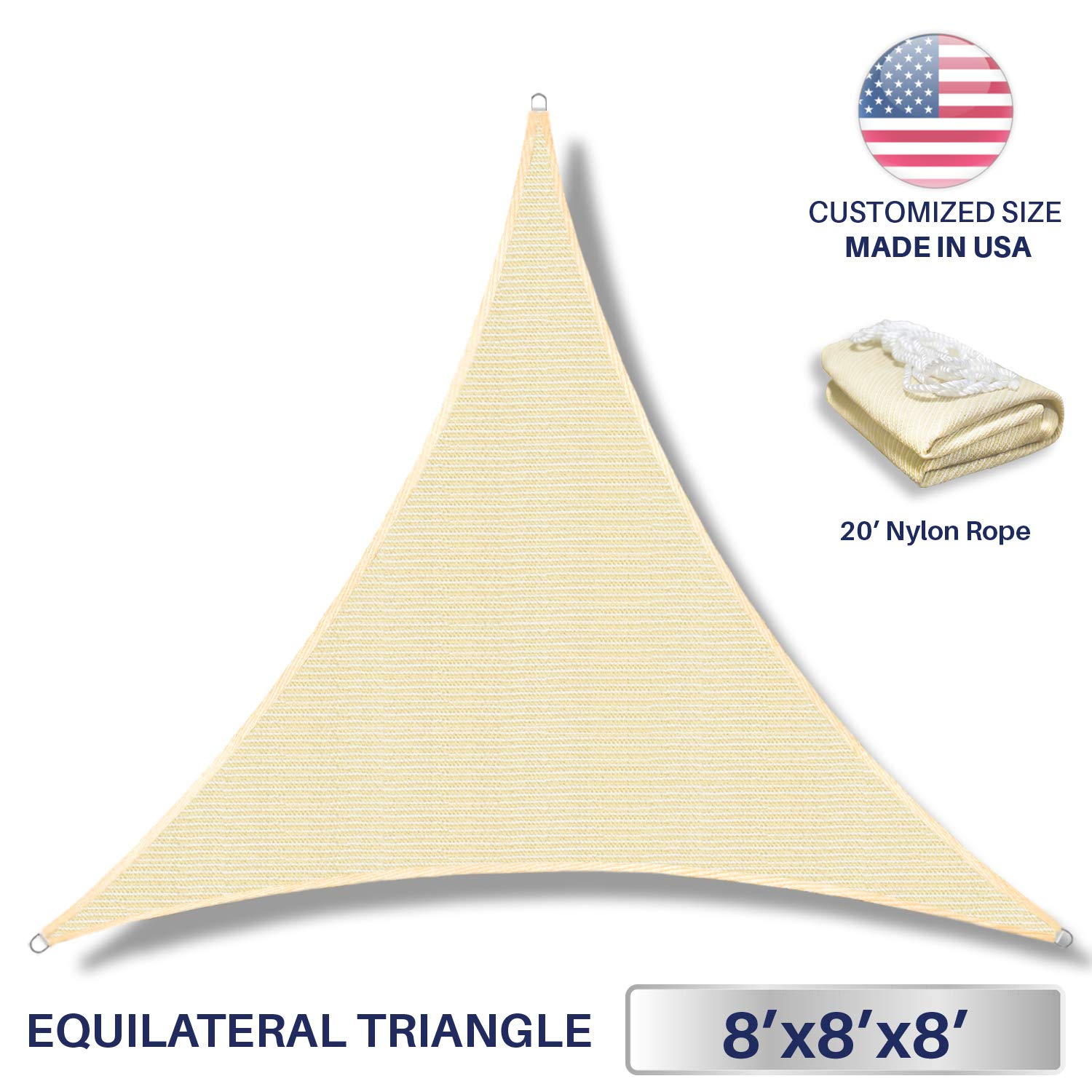 Windscreen4less 8' x 8' x 8' Triangle Sun Shade Sail - Beige Durable UV Shelter Canopy for Patio Outdoor Backyard - Custom