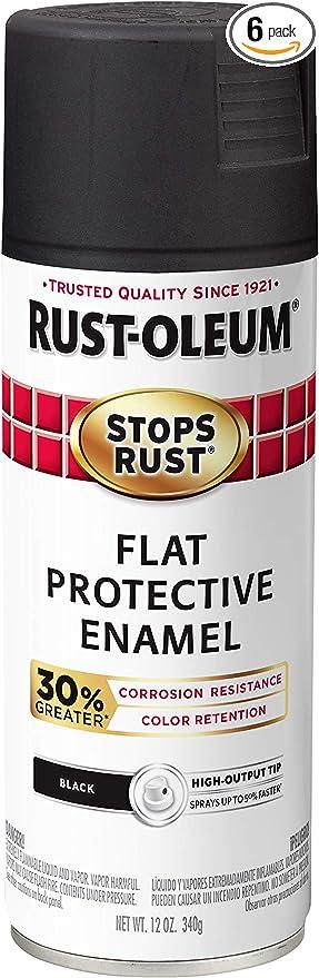 Rust Oleum 3389486 Pk Stops Rust Advanced Spray Paint 6 Pack Flat Black Amazon Com