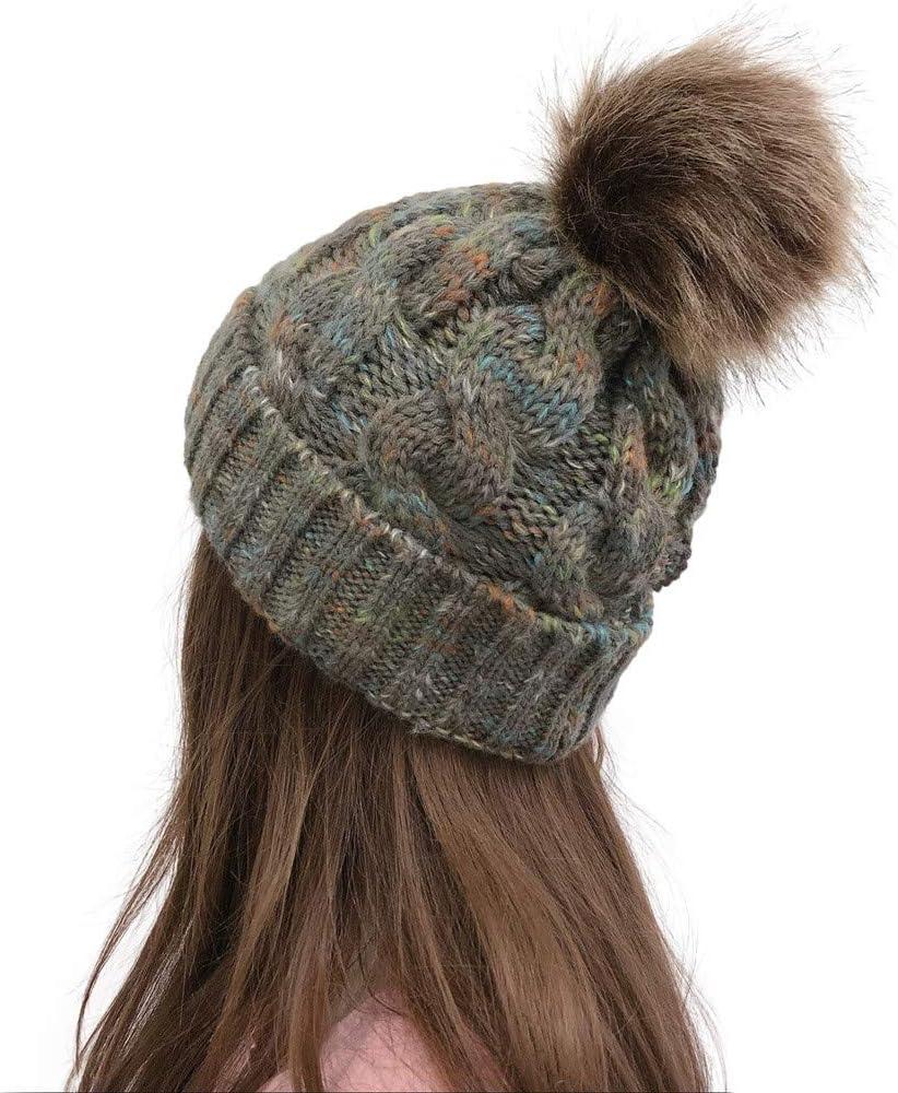 Bonnet De Ski Doux Doubl/é en Molleton Chaud avec Pom Pom ALINKCO 2020 Bonnet dhiver pour Femmes