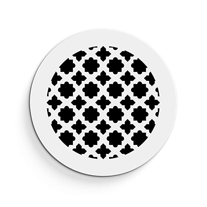"""Saba Air Vent Cover Grille - Acrylic Plexiglass 6"""" Round Duct Opening (7.5"""" Round Overall) White Finish Decorative Register Covers for Walls and Ceilings NOT for Floor USE, Venetian (1PCs)"""