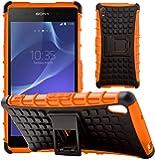 GizzmoHeaven Sony Xperia Z2 Hülle Stoßfest Handy Schutzhülle Stoßgedämpfter Extraharte Tasche Silikon Gel Hybrid Armor Cover Case Etui mit Ständer für Sony Xperia Z2 - Orange