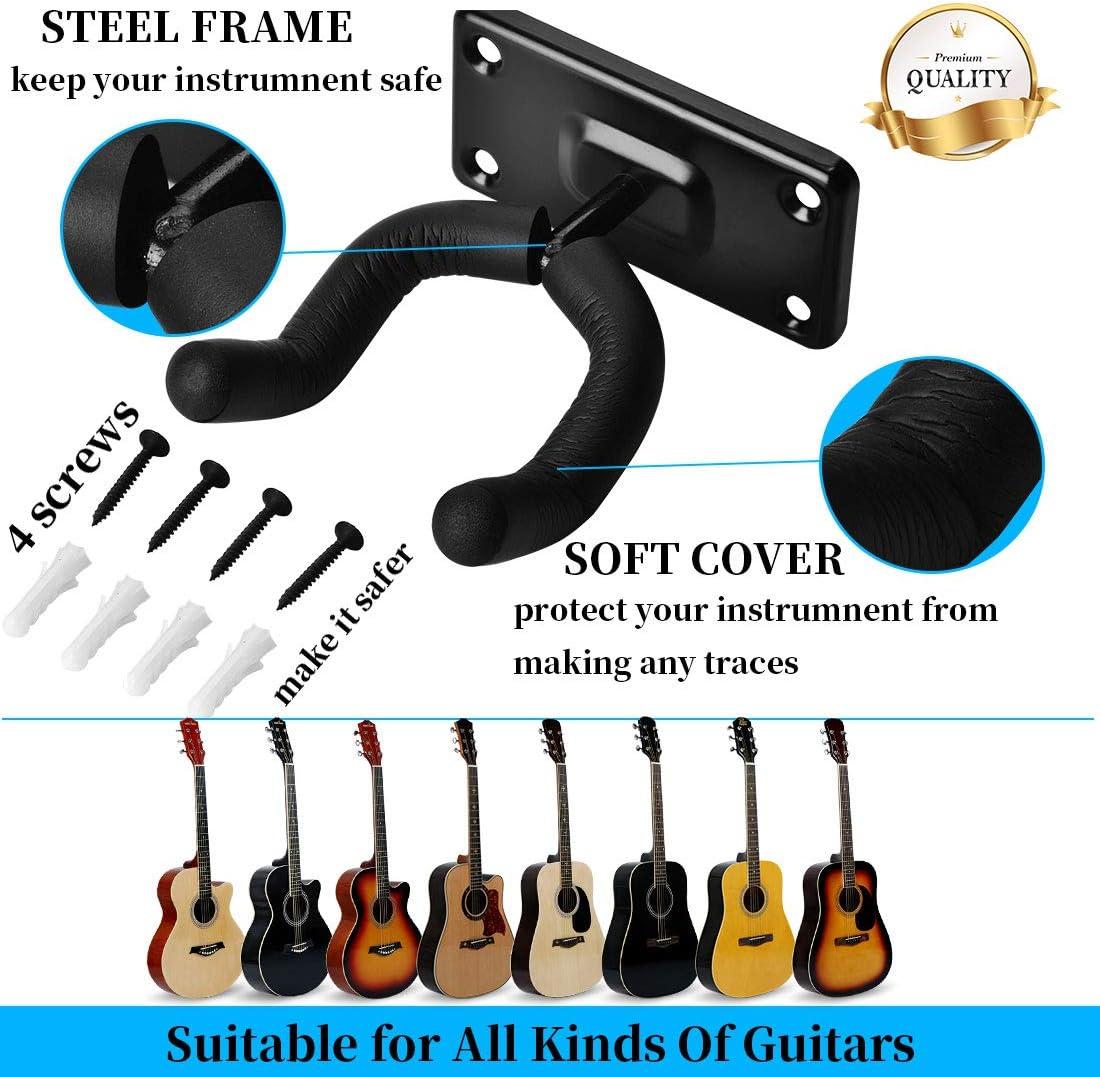 MOREYES Guitar Hanger Wall Mountable Universal Acoustic Guitar Bracket Electric Guitar holder Bass Guitar hook 1PACK
