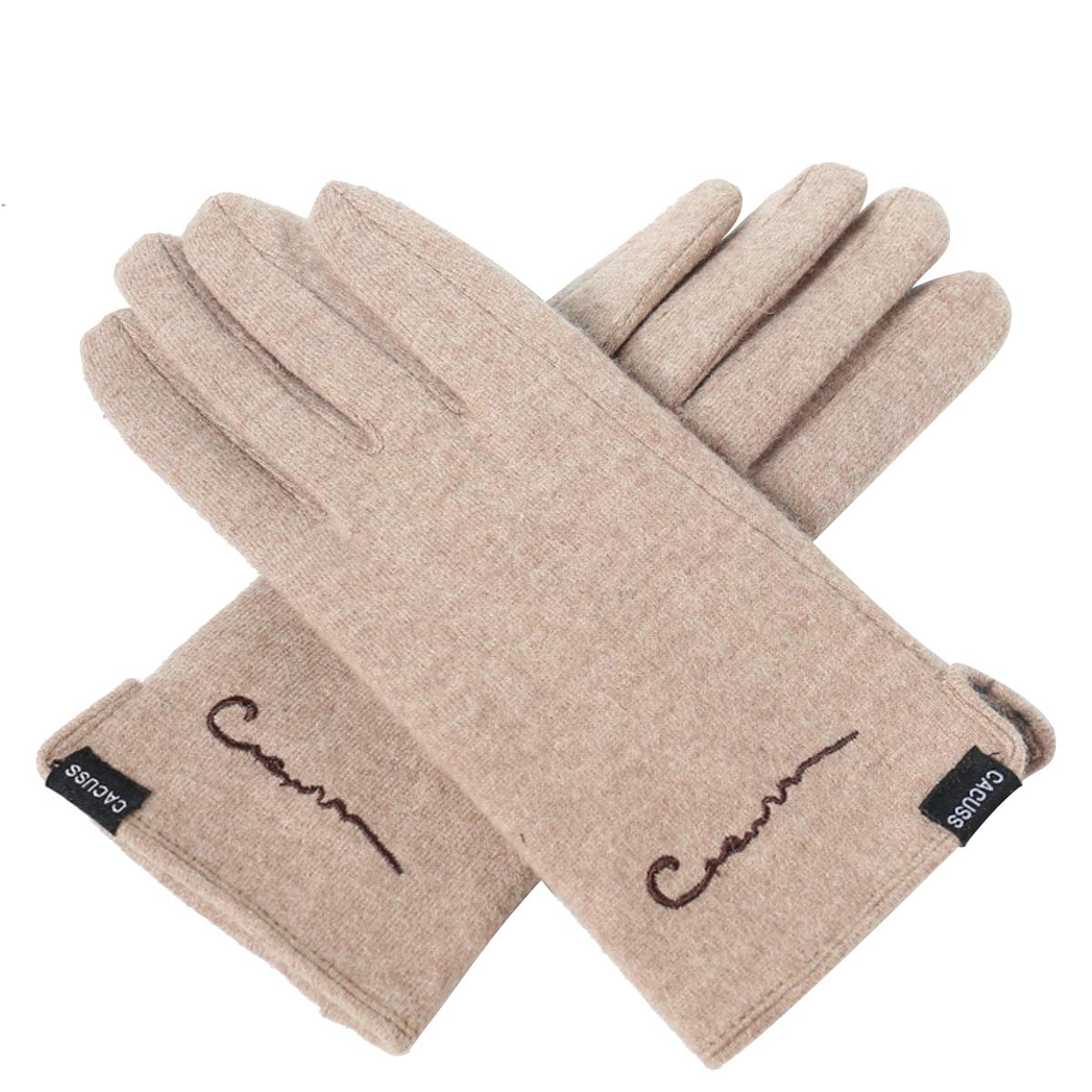 CACUSS Women's Winter Wool Knit Gloves Touchscreen Texting Finger Tips with Warm Fleece Lining (Light tan)