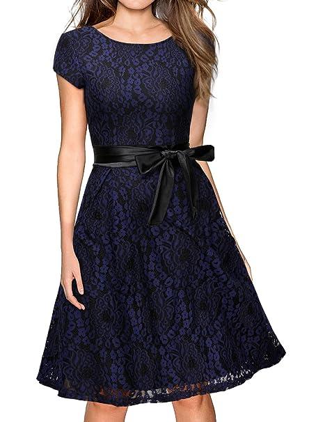 MIUSOL Vestidos de Fiesta Cortos Vintage Años 50 Encaje Coctel Para Mujer (small,Azul
