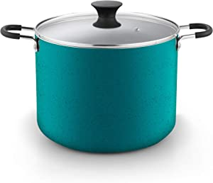 Cook N Home Nonstick Stockpot with Lid, 10.5 Quarts, Turquoise (2697)