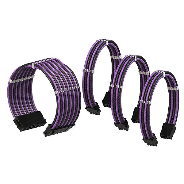 LINKUP PSU Cable Extension Sleeved Custom Mod GPU PC Power Supply Braided w/Comb Kit  1x 24 P (20+4)   1x 8 P (4+4) CPU   2X 8 P (6+2) GPU Set   50CM 500MM - PurpleBlack (Color: PurpleBlack, Tamaño: 50cm Pwr Cable Kit)