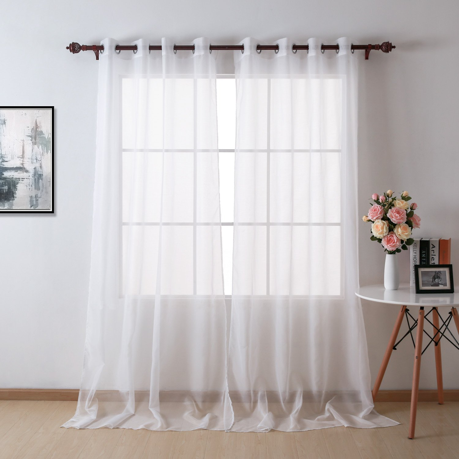 Deconovo Sheer Voile Curtains Eyelet Semi Transparent Super Soft Sheer Curtains Small for Bedroom 55 x 71 Inch White 1 Panel
