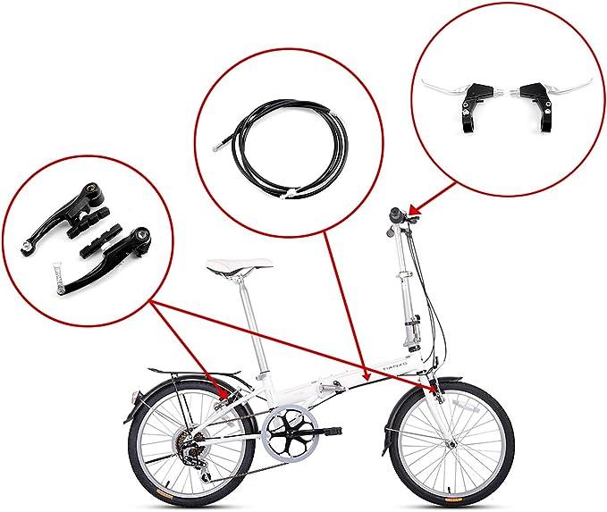 Juego completo de frenos V-brake. Color: negro. Frenos delanteros y traseros para bicicleta MTB híbrida, cables internos y externos y kit de levas. Incluye calibres, cables y todos los accesorios. Color: negro: