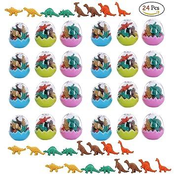Clerfy Acc 24 Huevos Dinosaurio con Poca Goma Juguete Dinosaurio Mini borrar Borrador lápiz Juguete para niños Fiesta a los niños Fiesta cumpleaños ...