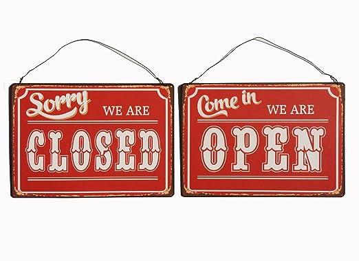 Cartel de chapa - Open Closed - cartel de aspecto antiguo ...