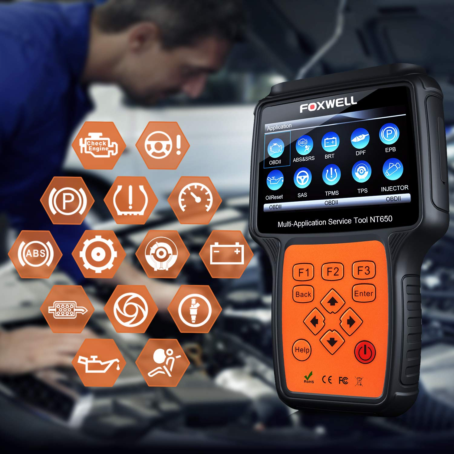 FOXWELL NT650 Automotive Code Reader Obd2 Scanner ABS/Airbag/SAS/EPB/DPF/BRT/EPS/CVT/Oil Service Reset Car Special Service Diagnostic Scan Tool by FOXWELL (Image #2)
