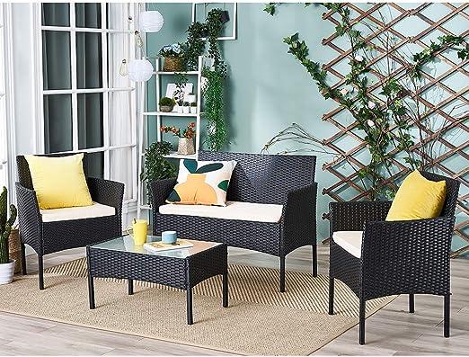 Conjunto mesa de cristal + 3 sillas de ratán pvc moderno – impermeable al agua – Resistente a los rayos UV para jardín, balcón, terraza, Negro: Amazon.es: Jardín