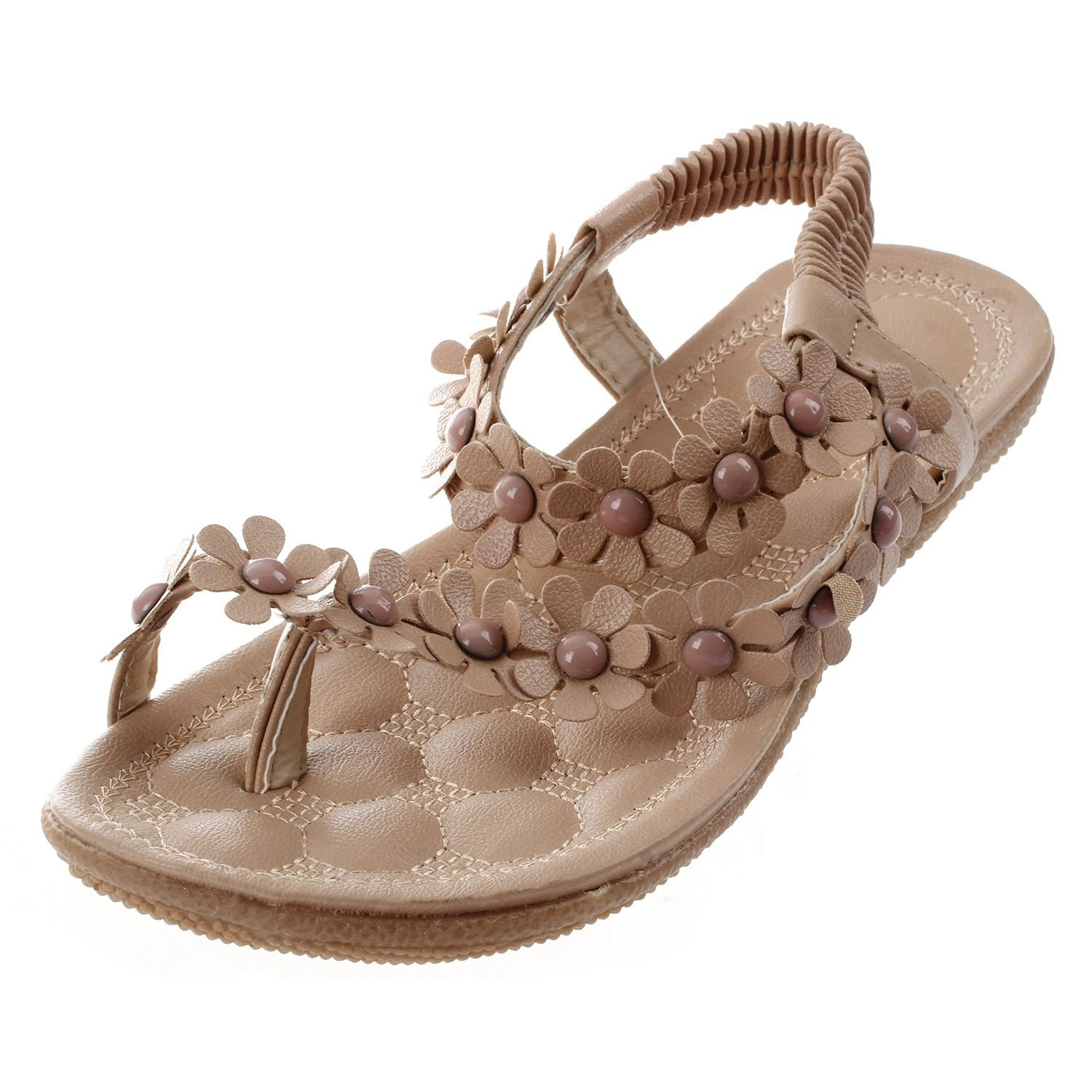 SODIAL(R) New Flip-flop sandals open toe flip women's shoes flat flats bohemia flower beaded soft outsole sweet for women 669 Beige US6.5=EUR37=feet length 23.5CM 044913C3