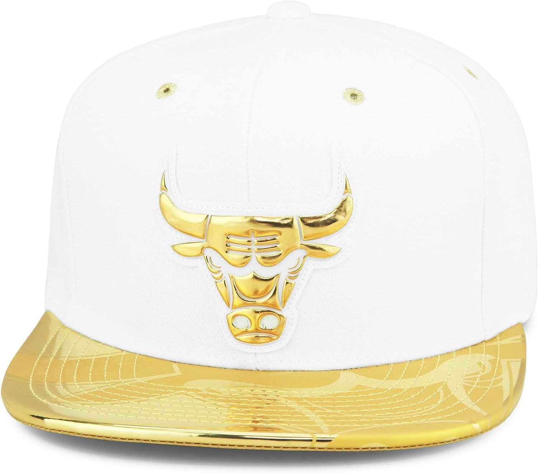 Mitchell /& Ness Chicago Bulls Snapback Cap Wei/ß Schwarz Folie /& Team Logo