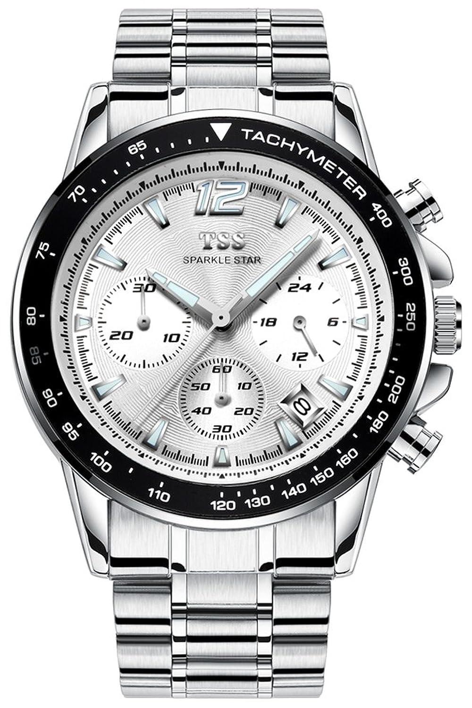 TSS Herren-t5023 C1 Quarz Chronograph Diver Blende Armbanduhr mit Edelstahl Band