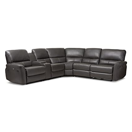 Amazoncom Baxton Studio Amaris 5 Piece Leather Reclining Sectional