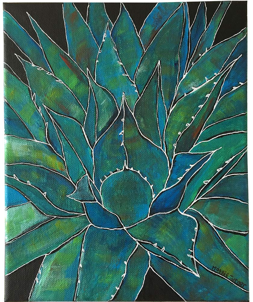Blue Agave, Original Succulent Painting on Canvas, Not Print, Cactus Artwork from Artist, Ready to Hang, 8x10