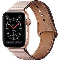 Qeei Lederen Bandje Compatible Met Apple Watch 44mm 42mm,Innovatief Verborgen Gespen Echt Lederen Horlogebanden…