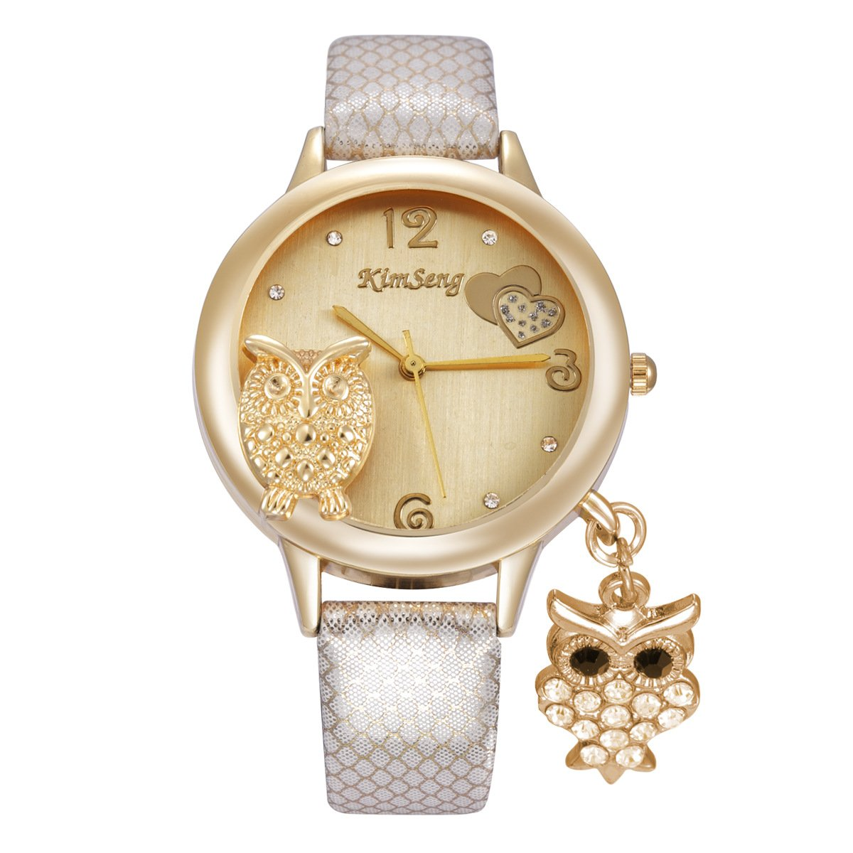 Cute Owl Watches for Women Girls - Dress Animal Pendant Watches Mesh Pattern Band Ladies Watches, White