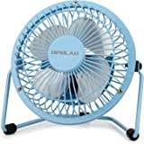 OPOLAR Mini USB Desk Fan,USB Powered, Metal Design, Quiet Operation; 3.9 ft USB Cord, Handheld Size, Power Saving, Personal Table Fan for Home and Office-Blue
