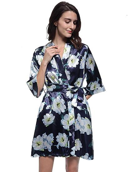 4763e568a5 Mobisi Women s Floral Print Short Sleeve Kimono Robe V Neck Satin Bride Robe  Bathrobe at Amazon Women s Clothing store