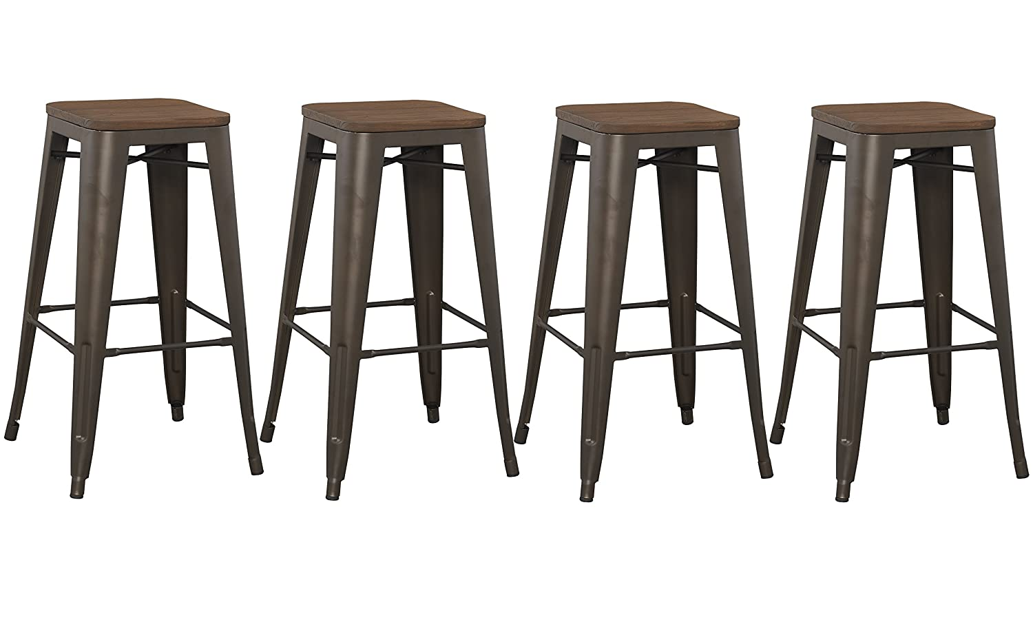 Terrific Btexpert 30 Inch Bar Stool Modern Solid Steel Stacking Industrial Rustic Metal With Wood Top Set Of 4 Theyellowbook Wood Chair Design Ideas Theyellowbookinfo