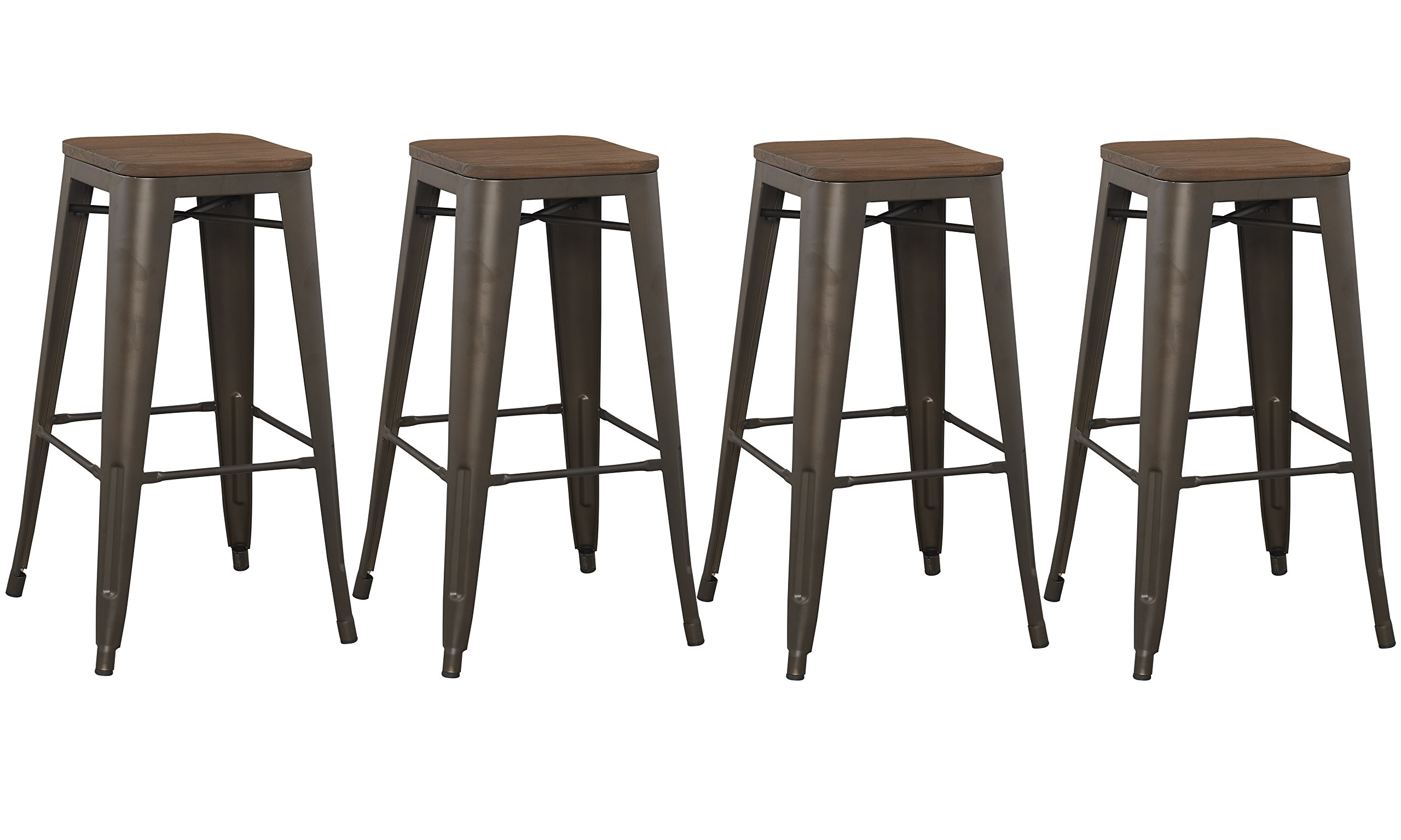 BTExpert 30'' inch Bar Stool, Modern Solid Steel Stacking Industrial Rustic Metal with Wood Top set of 4 by BTEXPERT