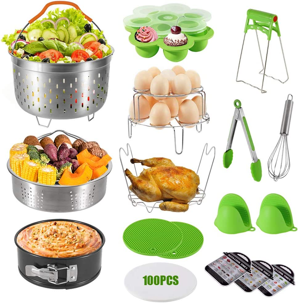 amorus 18 Pieces Accessories for Instant Pot 6,8 Qt, Pressure Cooker Accessories Set - 2 Steamer Baskets, Springform Pan, Stackable Egg Steamer Rack, Egg Bites Mold, 100 Pcs Parchment Paper (Green)