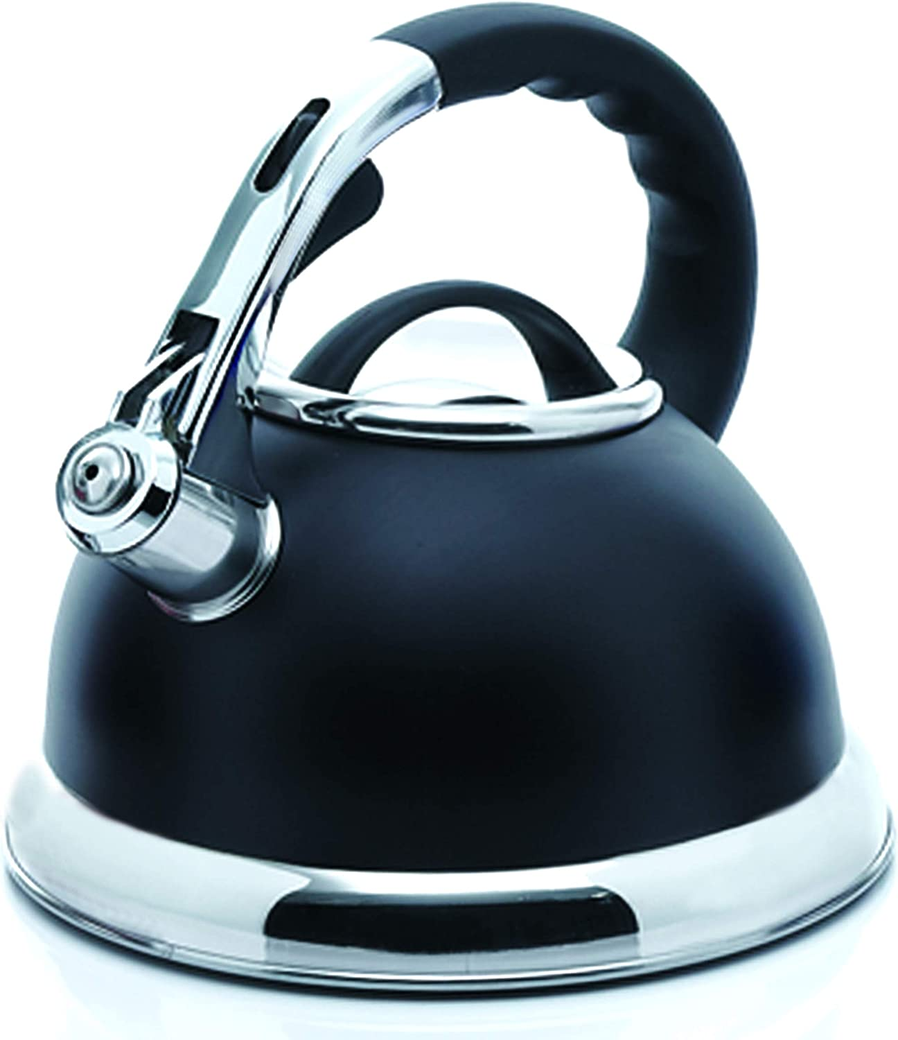 Creative Home Camille 3 0 Qt Stainless Steel Opaque Black Whistling Tea Kettle Kitchen Dining