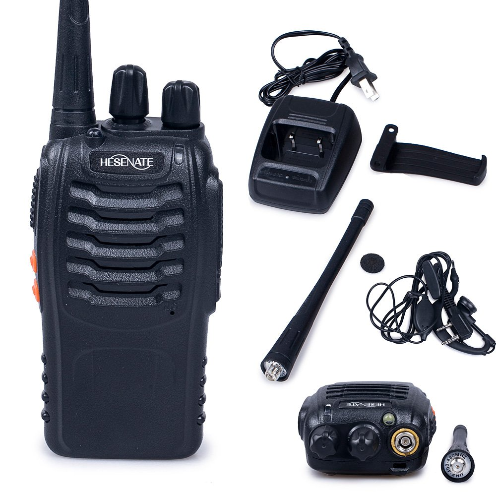HESENATE HT-U666 Two Way Radio UHF 400-470MHz 16-Channel Rechargeable Professional Transceiver LED Flashlight Walkie Talkie Pack of 6