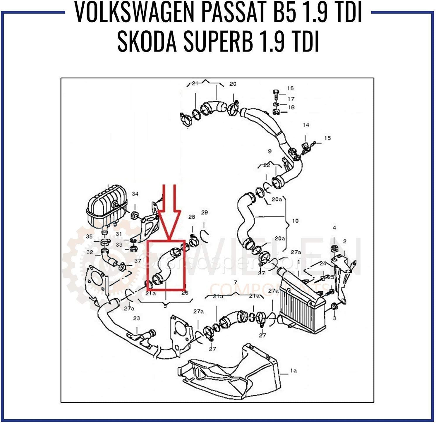 V W V O L K S W A G E N PASSAT B5 S K O D A SUPERB 1.9 TDI Manchon Intercooler Tube Air 3B0145828G 3B0145828D 3B0145828F 3B0145828K