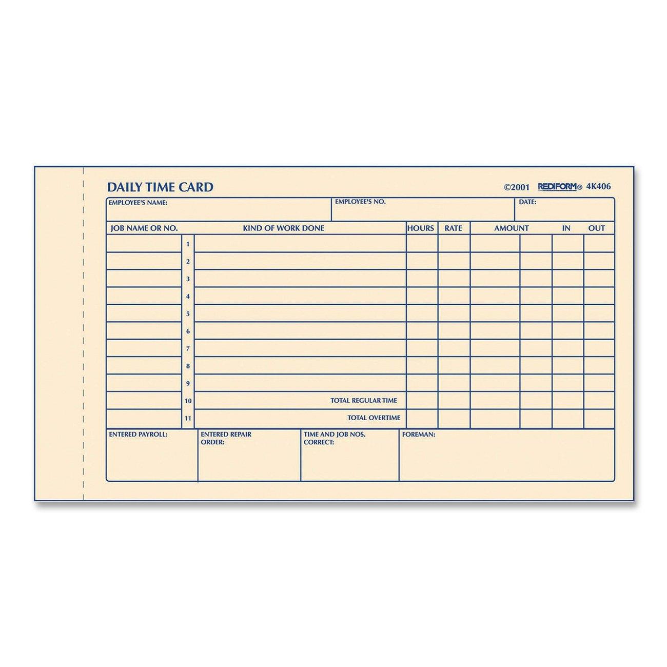 Amazon.com : REDIFORM Time Card Pad, Daily, 2-Sided, Manila, 4.25 ...