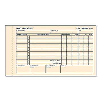 REDIFORM Time Card Pad, Daily, 2 Sided, Manila, 4.25u0026quot; X