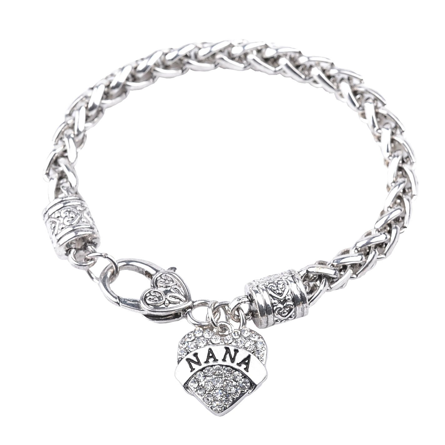 Bling Stars Mother's Day Gift for Mom Bracelet Clear Crystals Lobster Claw Heart Bracelet BR-01-0025