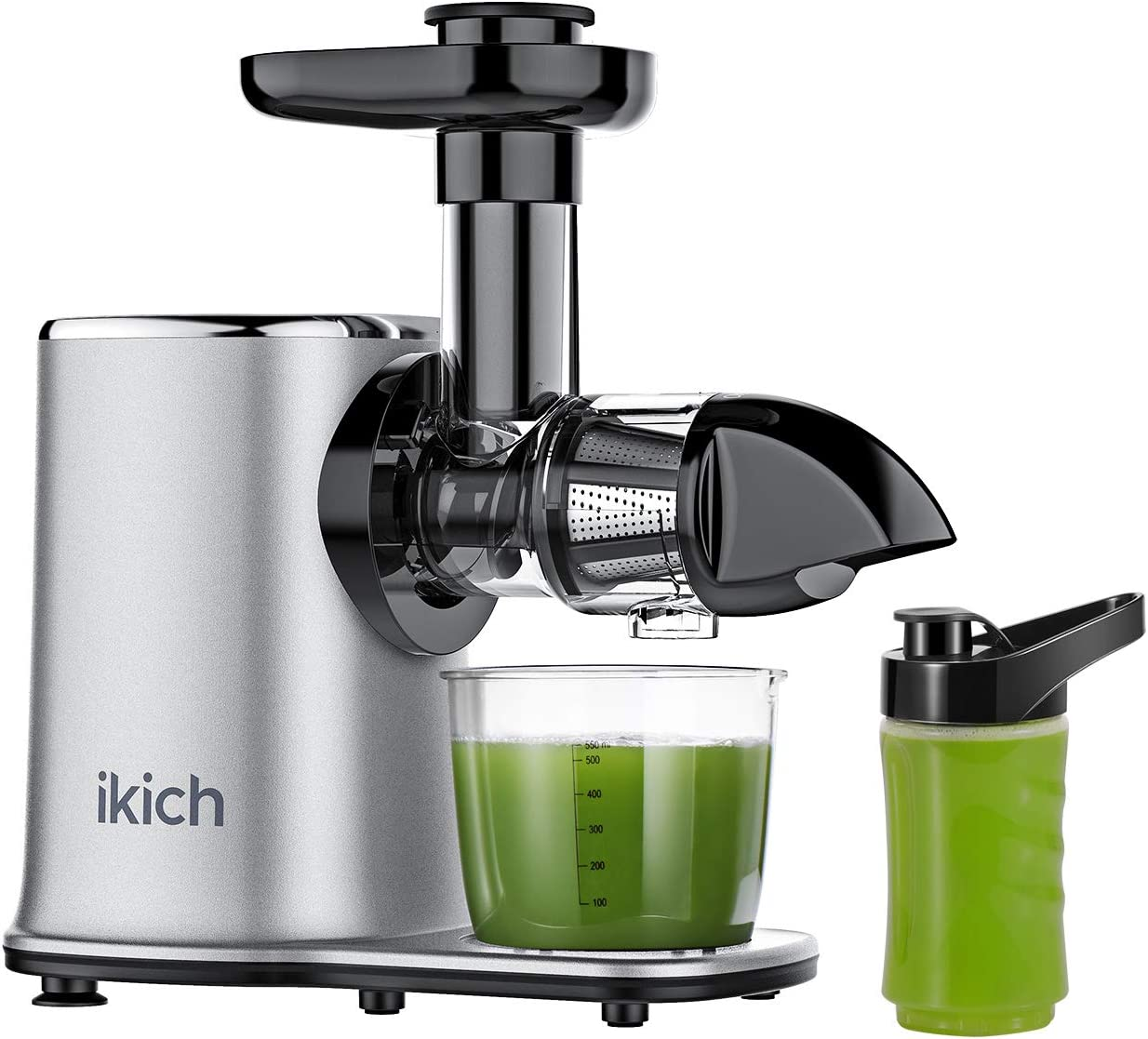 IKICH Masticating Juicer Machines 2-Speed Slow Masticating Juicer Easy to Clean, High Juice Yield, Reverse Function Cold Press Juicer Machine with Portable Bottle and Recipes for Vegetables and Fruits
