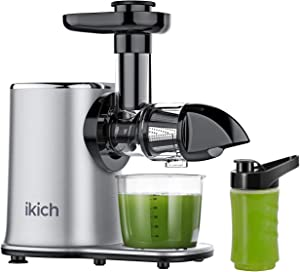 IKICH Slow Juicer 2-Speed Slow Masticating Juicer Easy to Clean, High juice yield, Reverse Function Cold Press Juicer Machine with 500ml Portable Bottle and Recipes for Vegetables and Fruits-Silver