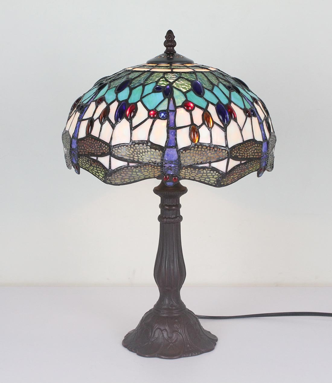 BIEYE L11402 Dragonfly Tiffany Style Stained Glass Table Lamp with 12 Inch Wide 6 Dragonflies Lampshade and Metal Base, 19 inch Tall