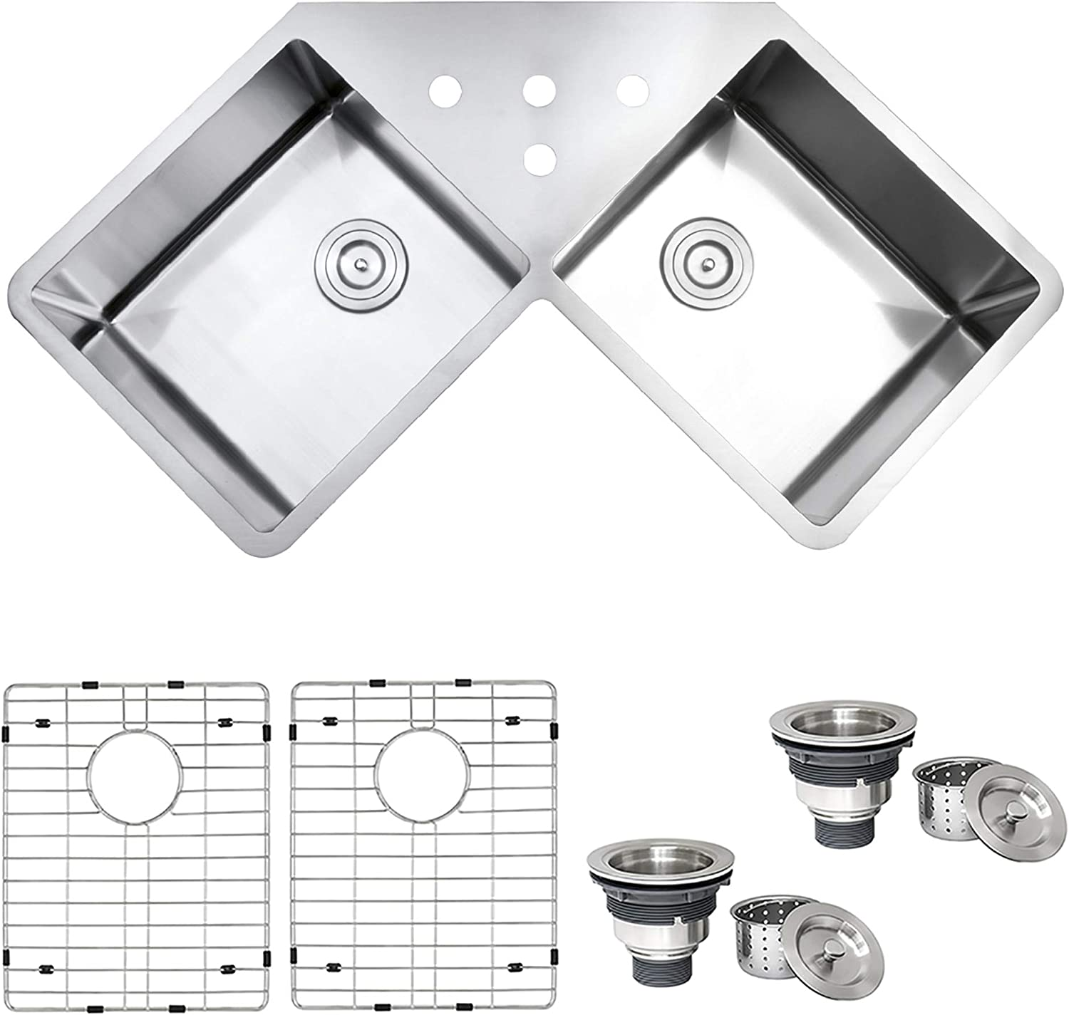 Ruvati Rvh8400 Undermount Corner Kitchen Sink 16 Gauge 44 Double Bowl Stainless Steel Amazon Com
