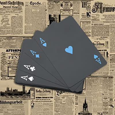 Alomejor Juego de Póquer Impermeable, plástico Negro, Tarjetas de Juego de PVC para Viajes y Natación, Iron Box: Deportes y aire libre