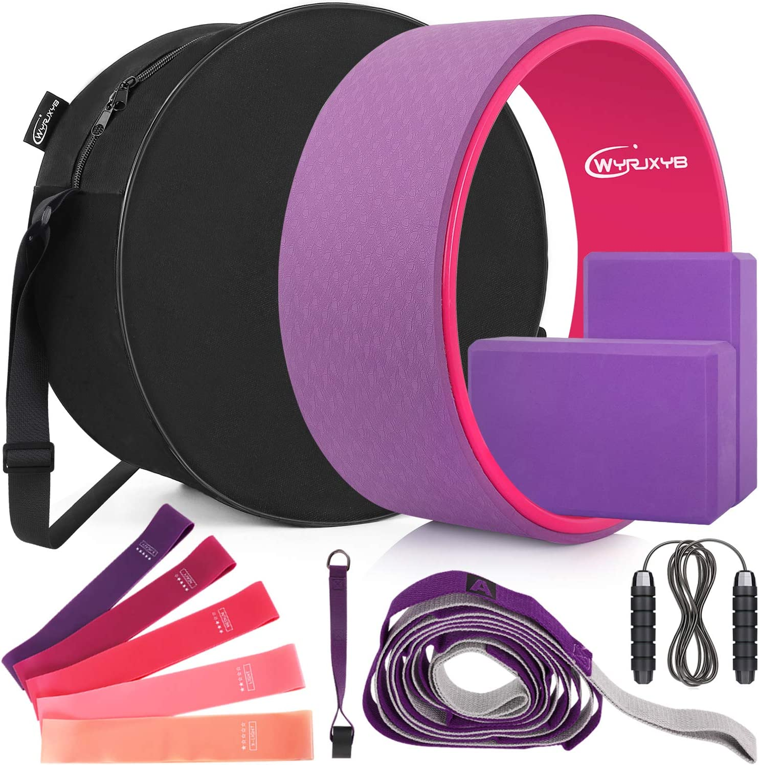 WYRJXYB Yoga Wheel Set (11-in-1), Yoga Back Roller and 2 Yoga Blocks with Strap for Back Pain, Stretching and Improving Backbends, Include Resistance Bands, Yoga Wheel Bag and Jump Rope (Purple) : Sports & Outdoors