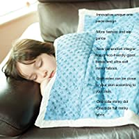 Daverose Kids/Adults Minky Dot Weighted Blanket | Upgraded One Piece Design | Reduce Stress Anxiety | Great for ADHS, Insomnia, Autism, Agitation (97x157cm 3.2kg, Azurite Minky Dot/Light Grey)