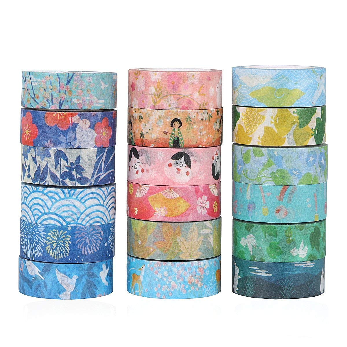 Molshine Set of 7 Japanese Washi Masking Tape, Dreamlike Series,Sticky Paper Tape for DIY, Decorative Craft, Gift Wrapping, Scrapbook (15mm x 8m, 0.6inch x 8.7 Yard)