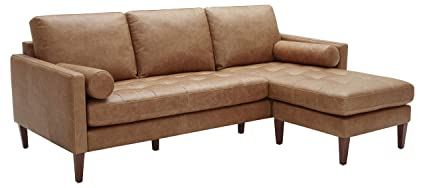 Astounding Rivet Aiden Mid Century Leather Sectional With Tapered Wood Legs 86W Cognac Gmtry Best Dining Table And Chair Ideas Images Gmtryco
